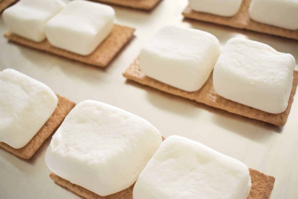 Graham crackers with marshmallows on top