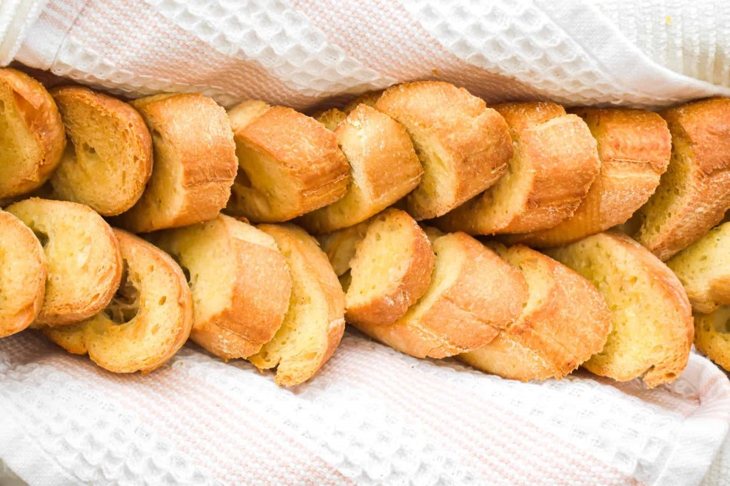 Toasted Crostini Bread in a bread basket