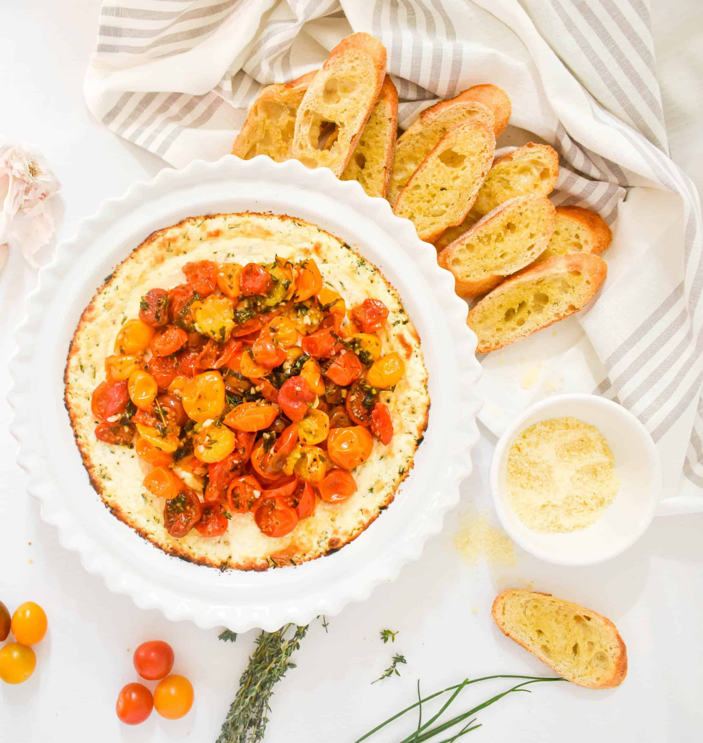 Herbed Goat Cheese Dip with Garlic Roasted Cherry Tomatoes